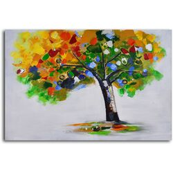 'Bejeweled Papered Tree' Original Painting on Canvas