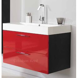 Hudson Reed Red and Black Contrast Basin and Cabinet
