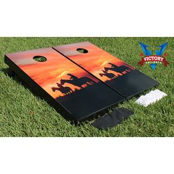 Horses Sunset Cornhole Bean Bag Toss Game