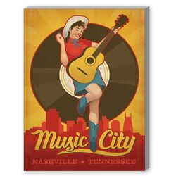 Pinup Music City Vintage Advertisement on Canvas