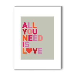 All You Need Is Love and Chocolate Textual Art on Canvas
