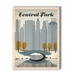 Central Park New York City Vintage Advertisement on Canvas