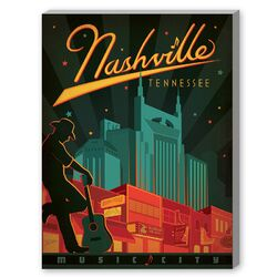 Nashville Broadway, Music City Vintage Advertisement on Canvas