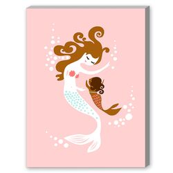 Mermaid Baby Girl Graphic Art on Canvas