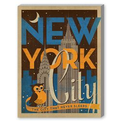 New York City Night Owl Graphic Art on Canvas