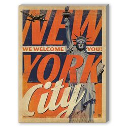 New York City Welcome You Graphic Art on Canvas
