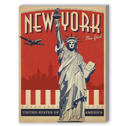 New York City Liberty Skyline Graphic Art on Canvas