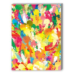 Spring Pattern Paintbrush Graphic Art on Canvas