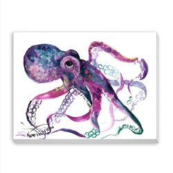 Octopus 4 Painting Print on Wrapped Canvas