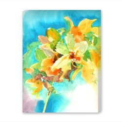 Yellow Orchid Painting Print on Wrapped Canvas