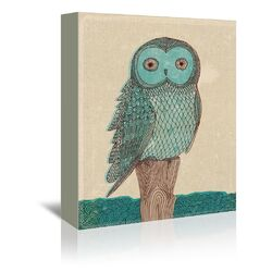 Owl Monotone Graphic Art on Gallery Wrapped Canvas