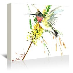 Hummingbird 4 Painting Print on Gallery Wrapped Canvas