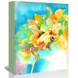 Yellow Orchid Painting Print on Gallery Wrapped Canvas
