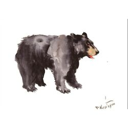 American Bear by Suren Nersisyan Painting Print in Black