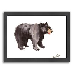 American Bear by Suren Nersisyan Framed Painting Print in Black