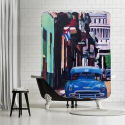 Cuban Oldtimer Street Scene in Havanna Cuba with Buena Vista Feelinng Shower Curtain