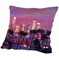 Los Angelese Golden Skyline 2 Throw Pillow