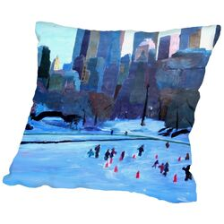 New York City Central Park Winter Ice 2 Throw Pillow