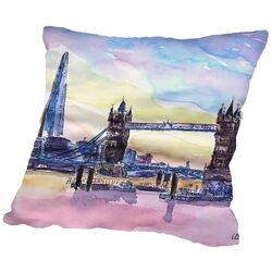 London England the Shard and tower Bridge 2 Throw Pillow