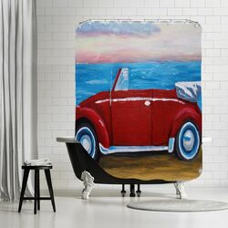 Red Bug with Sea Shower Curtain