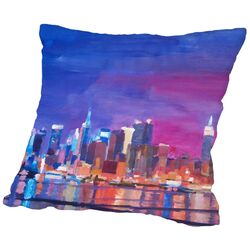 New York Rainbow Skyline 2 Throw Pillow