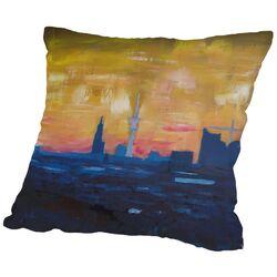 Hamburg Skyline Dusk 2 Throw Pillow
