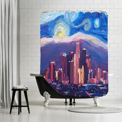 Starry Night in Los Angeles Shower Curtain