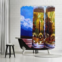 Two Beers with Mountains 2 Shower Curtain