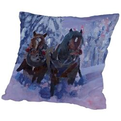 The Winter Sled Horses 2 Throw Pillow