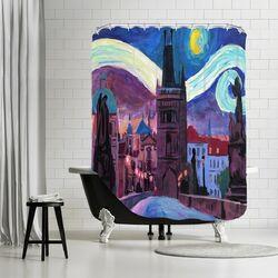 Starry Night in Prague Shower Curtain