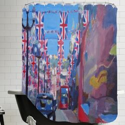 London Rule Britannia London Covered with Union Jack Flags I Shower Curtain