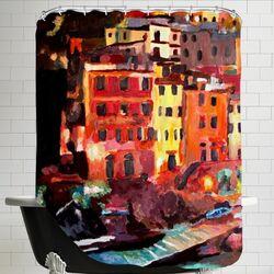 Magic Cinque Terre Night in Riomaggiore Shower Curtain