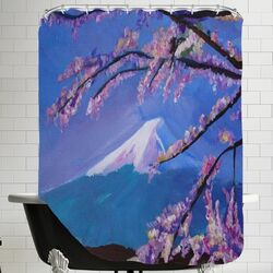 Mount Fuji with Lake and Almond Blossom Time Shower Curtain