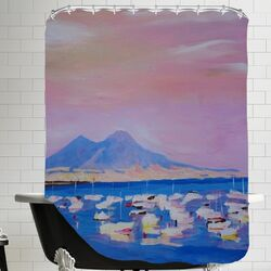Boats in Gulf of Naples Italy with Vesuvius Shower Curtain