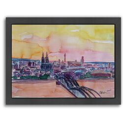 'Cologne Deutz Bridge Sunset 2' by M Bleichner Framed Painting Print