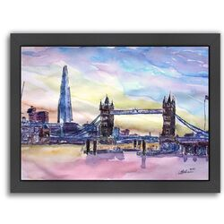 London England the Shard and Tower Bridge 2' by M Bleichner Framed Painting Print