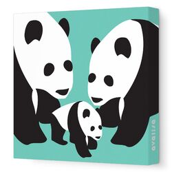 Animals Three Pandas Stretched Canvas Art