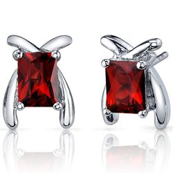 Striking Color 2.50 Carats Garnet Radiant Cut Earrings in Sterling Silver