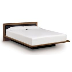 Moduluxe Bed with Low Upholstered Leather Headboard