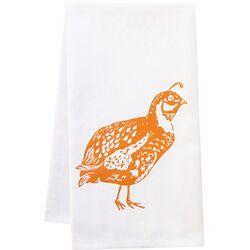 Organic Quail Block Print Tea Towel