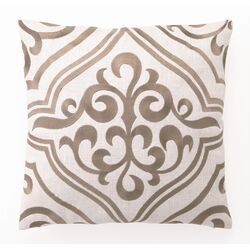 Tile Down Filled Embroidered Linen Pillow