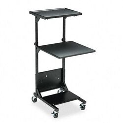 Adjustable Projection Stand, Two Shelves, 18 x 20 x 41-1/2 to 47-1/2, Black