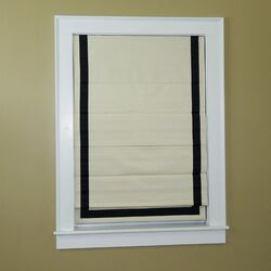 Deluxe Thermal Blackout Cordless Roman Shade with Ribbon Border