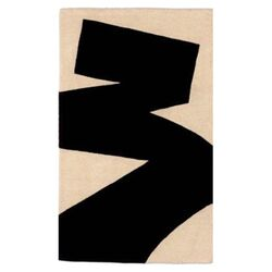 Brush Stroke Black/Tan Area Rug