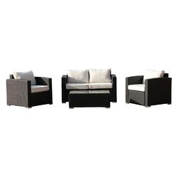 Vomo 4 Piece Deep Seating Group in Black with Cushions