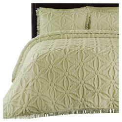 Arianna Chenille Bedspread Set in Honeydew