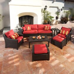Cantina Deco 8 Piece Deep Seating Group in Espresso with Cushions