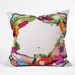 CayenaBlanca Floral Frame Polyester Throw Pillow