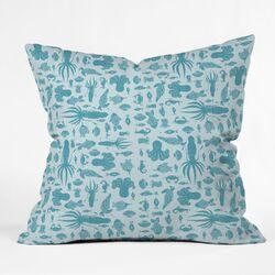 Jennifer Denty Sea Creatures Indoor / Outdoor Polyester Throw Pillow