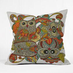 Valentina Ramos 4 Owls Polyester Throw Pillow